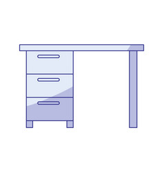 Blue shading silhouette of wooden office desk with vector