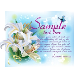 Card with white lilies vector image vector image
