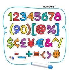 Cartoon Colorful Doodle Numbers vector image