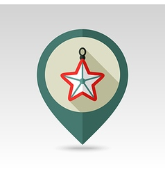 Christmas star flat pin map icon vector