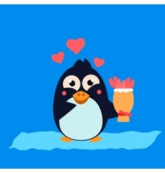 Cute Penguin on Iceberg with Flowers vector image