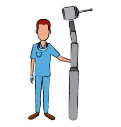 dentist cartoon isolated vector image