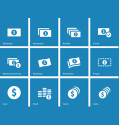 Dollar banknote blue icons on white background vector
