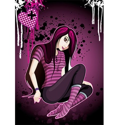 Emo girl cartoon vector