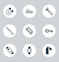 equipment icons set collection of turn screw vector image