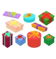 Flat design isometric gifts boxes set Bright vector image vector image