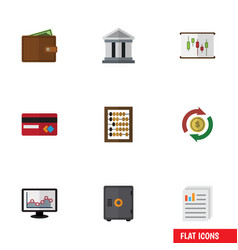 Flat icon incoming set of interchange chart bank vector