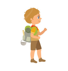 Girl scout carrying a backpack side view a vector