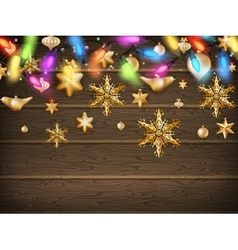 Gold christmas ornament balls with star eps 10 vector