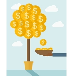 Hand with container catches a dollar coin vector