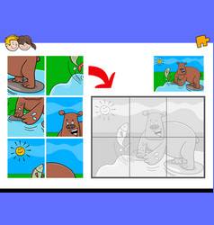 jigsaw puzzles with bear animal character vector image vector image