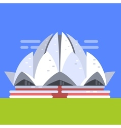 Lotus temple in new deli famous traditional vector