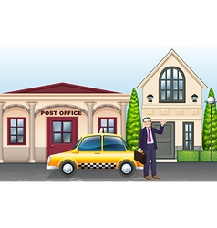 Man and taxi in front of post office vector image