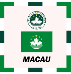 Official ensigns flag and coat of arm of macau vector