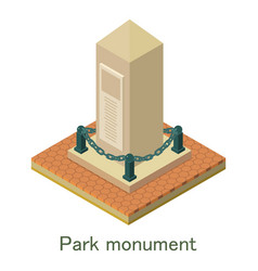 park monument icon isometric style vector image vector image