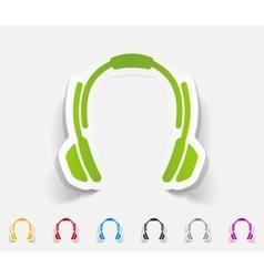 Realistic design element headphones vector