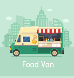 Retro food van on city background vector