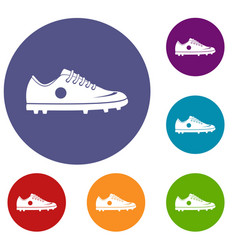 Soccer shoe icons set vector