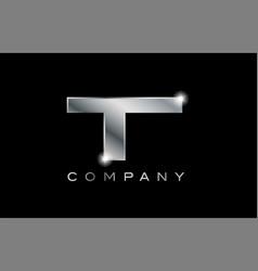 T silver metal letter company design logo vector