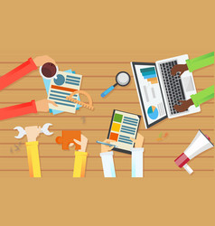 team work banner top view of a table vector image vector image