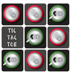Tic-tac-toe of soda can or beer vector