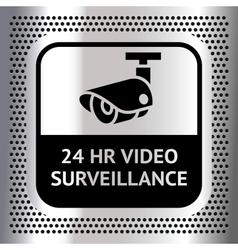 Video surveillance symbol on a metallic chromium vector