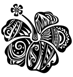Hibiscus black and white vector