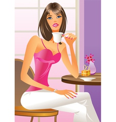 Fashion girl drinking a coffe vector