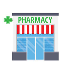 Facade pharmacy store with a signboard vector