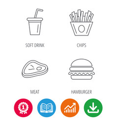 hamburger meat and soft drink icons vector image