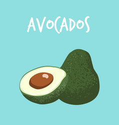 Fresh avocado on blue background vector