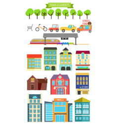 town elements vector image