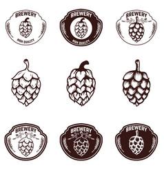 Set of brewery emblems beer hope design elements vector