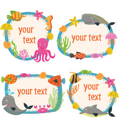 Set of isolated frames with marine animals vector