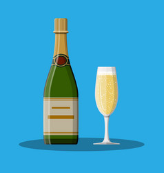 Bottle of champagne and glass vector