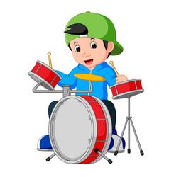 little drummer cartoon vector image