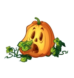 Frightened pumpkin vector