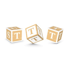 Letter t wooden alphabet blocks vector