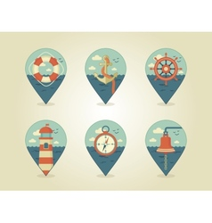 Pin map icons marine vector