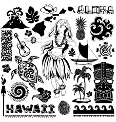 Retro set of hawaiian icons and symbols vector