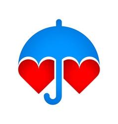 Umbrella protects hearts vector