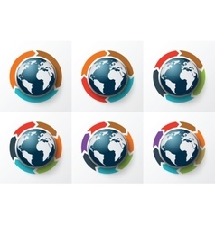 Arrows around the earth for infographic vector
