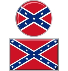 Confederate states of america round and square vector