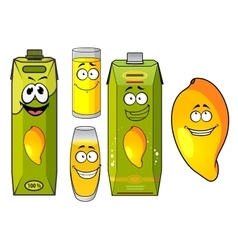 Cartoon mango juice fruit and glasses vector