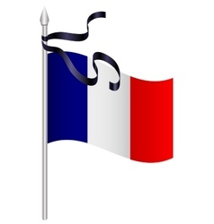 French flag with black mourning ribbon vector