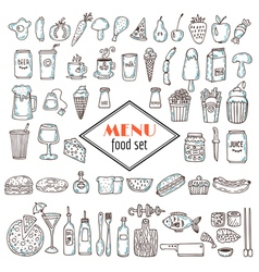 Hand drawn set of food icons set of various vector