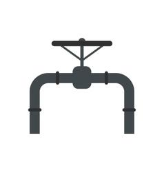 Pipeline with valve and handwheel flat icon vector