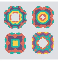 Colorful geometric ornament pattern set vector