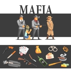 Mafia taking hostage and their equipment vector