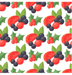 berries seamless pattern vegetarian berry vector image vector image